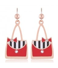 Oil-spot Glazed Red Women Bags Design High Fashion Stainless Steel Earrings