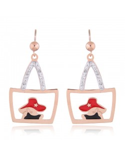 Czech Rhinestone Embellished Women Shoulder Bag Design High Fashion Stainless Steel Earrings