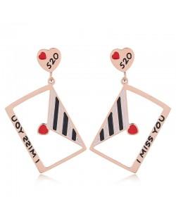 Cute Envelope Korean Fashion Stainless Steel Earrings