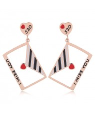 Cute Envelope Korean Fashion Stainless Steel Earrings