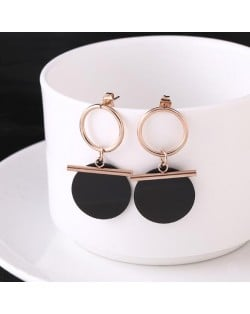 Black Round Pendant Dangling Hoop Fashion Stainless Steel Earrings