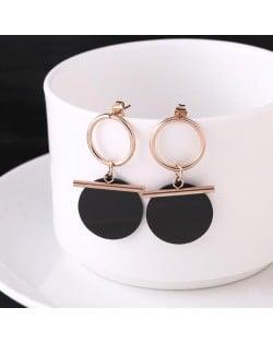Black Round Pendant Dangling Hoop Fashion Stainless Steel Earrings