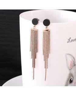 Chain Tassel Black Button Fashion Stainless Steel Earrings