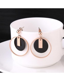 Rould Hoop and Plate Love Fashion Stainless Steel Earrings