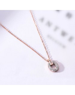 Rhinestone Inlaid Hoop Pendant Elegant Women Stainless Steel Necklace - Rose Gold