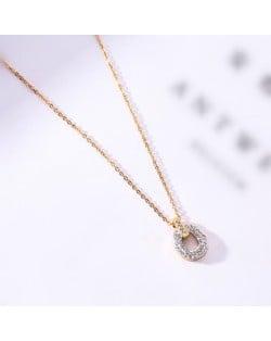 Rhinestone Inlaid Hoop Pendant Elegant Women Stainless Steel Necklace - Gold Plated