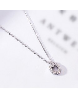 Rhinestone Inlaid Hoop Pendant Elegant Women Stainless Steel Necklace - Platinum