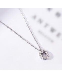 Rhinestone Inlaid Hoop Pendant Elegant Women Stainless Steel Necklace - Platinum