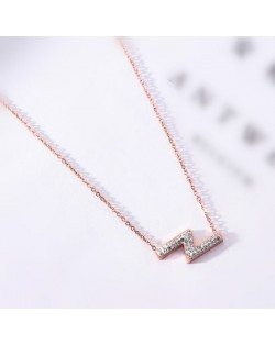 Flash Lightning Shape Pendant Stainless Steel Necklace - Rose Gold