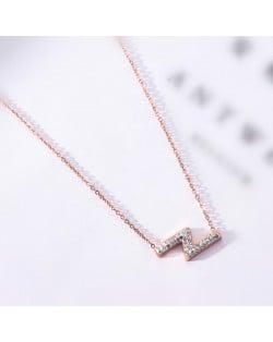 Flash Lightning Shape Pendant Stainless Steel Necklace - Rose Gold