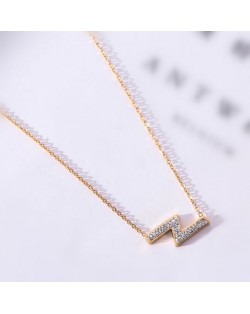 Flash Lightning Shape Pendant Stainless Steel Necklace - Gold Plated