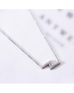 Flash Lightning Shape Pendant Stainless Steel Necklace - Platinum
