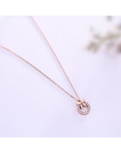 Bowknot Decorated Rhinestone Hoop Pendant Cute Fashion Stainless Steel Necklace - Rose Gold