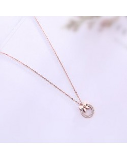 Bowknot Decorated Rhinestone Hoop Pendant Cute Fashion Stainless Steel Necklace - Gold Plated