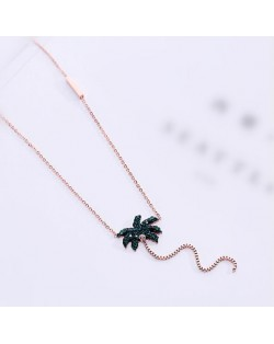 Coconut Tree Pendant High Fashion Stainless Steel Necklace - Rose Gold