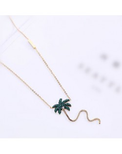 Coconut Tree Pendant High Fashion Stainless Steel Necklace - Gold Plated