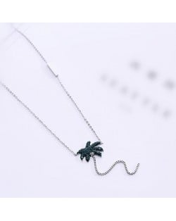 Coconut Tree Pendant High Fashion Stainless Steel Necklace - Silver