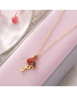 Gem Inlaid Bird Pendant High Fashion Stainless Steel Necklace - Red