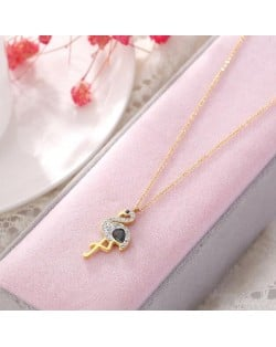 Gem Inlaid Bird Pendant High Fashion Stainless Steel Necklace - Gold