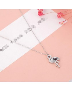 Gem Inlaid Bird Pendant High Fashion Stainless Steel Necklace - Silver