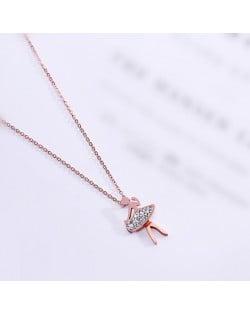 Ballet Dancer Pendant Fashion Stainless Steel Necklace - Rose Gold