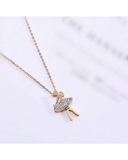 Ballet Dancer Pendant Fashion Stainless Steel Necklace - Gold