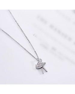 Ballet Dancer Pendant Fashion Stainless Steel Necklace - Platinum