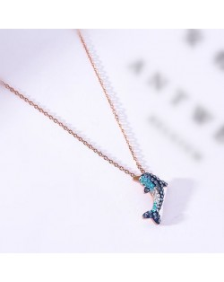 Dolphin Pendant Fashion Stainless Steel Necklace - Rose Gold