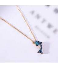 Dolphin Pendant Fashion Stainless Steel Necklace - Gold