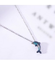 Dolphin Pendant Fashion Stainless Steel Necklace - Silver