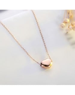 Classic Glossy Heart Pendant Fashion Stainless Steel Necklace - Rose Gold