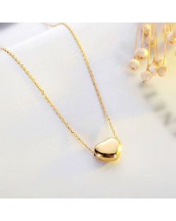 Classic Glossy Heart Pendant Fashion Stainless Steel Necklace - Gold