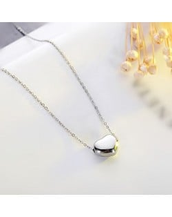 Classic Glossy Heart Pendant Fashion Stainless Steel Necklace - Platinum