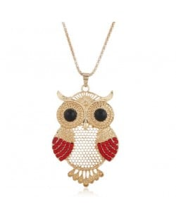 Rhinestone Embellished Cute Night-owl Pendant High Fashion Women Statement Necklace - Golden