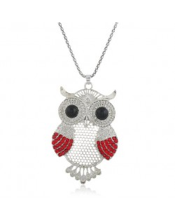 Rhinestone Embellished Cute Night-owl Pendant High Fashion Women Statement Necklace - Silver