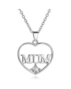2 Colors Available Mum Theme Hollow Heart Design Fashion Necklace