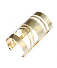 Two Colors Available Punk High Fashion Super Wide Alloy Costume Bangle