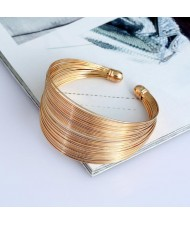 3 Colors Available Wires Style Wide Alloy Open Fashion Bangle