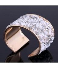 6 Colors Available Colorful Stones and Rhinestone Embellished Alloy Open Fashion Bangle
