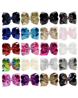 (20 pcs Per Unit) Sequins Colorful Bowknot Design Cute Kids/ Baby Hair Clips Set