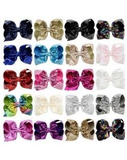 (20 pcs Per Unit) Sequins Colorful Bowknot Design Cute Kids/ Baby Hair Clips Set