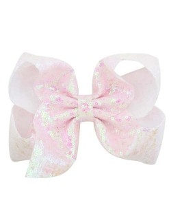 Sequins Bowknot Shining Design Cute Baby Hair Clip - White