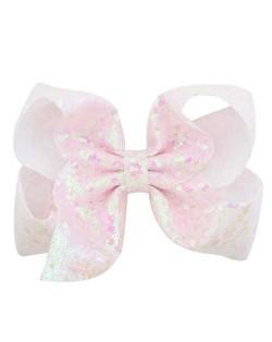 Sequins Bowknot Shining Design Cute Baby Hair Clip - White