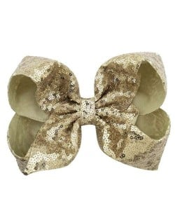 Sequins Bowknot Shining Design Cute Baby Hair Clip - Golden