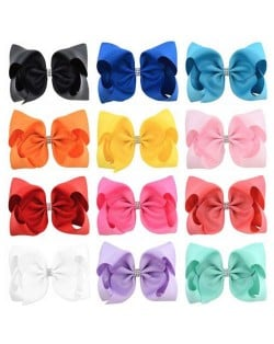 (12 pcs) Rhinestone Embellished Candy Color Bowknot Kids/ Baby Hair Clip Set