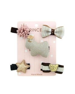 (5 pcs) Cute Chick Bowknots Fashion Baby Hair Clip Set