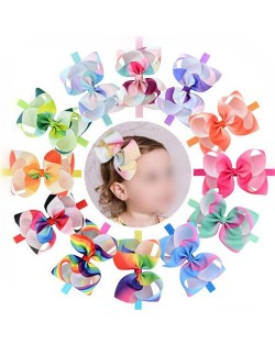 (12 pcs) Gradient Color Bowknot Baby/ Toddler Fahion Hair Band
