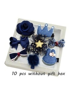 (10 pcs) Rabit Head Crown and Bowknot Assorted Elements Baby Fashion Blue Jeans Hair Clip Set