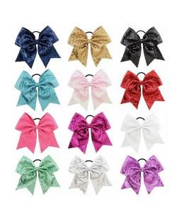 (12 pcs) Shining Sequins Swallowtail Bow Baby Hair Clip Set
