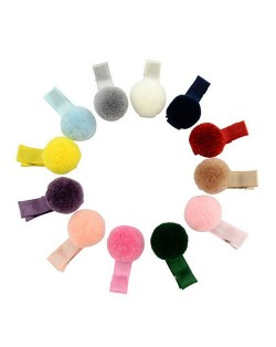 (12 pcs) Mixed Colors Fluffy Ball Decorated Cute Baby Hair Clip Set